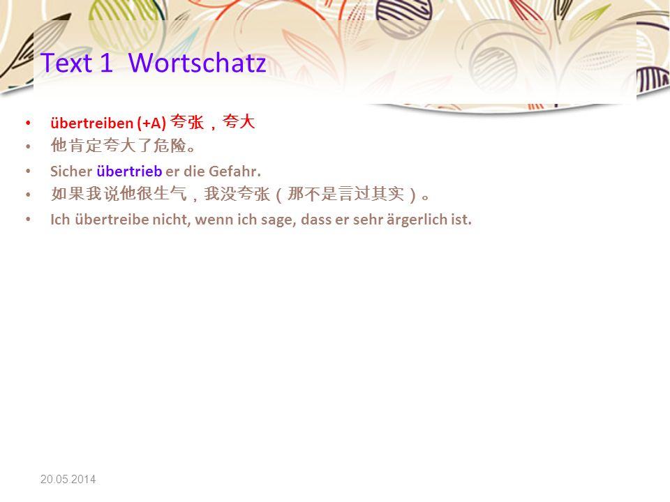 Text 1 Wortschatz übertreiben (+A) 夸张,夸大 他肯定夸大了危险。