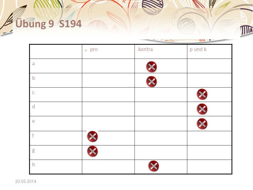 Übung 9 S194 。pro .kontra p und k a b c d e f g h 31.03.2017
