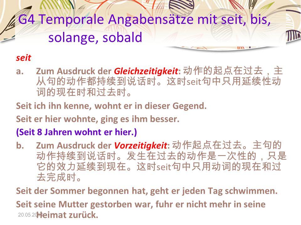 G4 Temporale Angabensätze mit seit, bis, solange, sobald