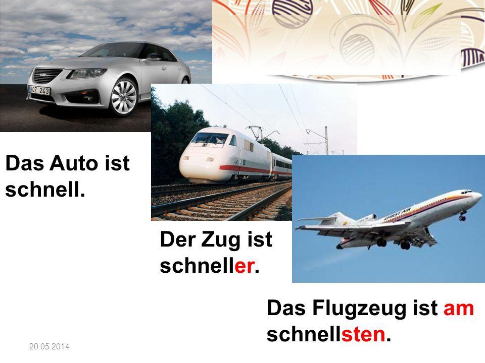 Das Flugzeug ist am schnellsten.