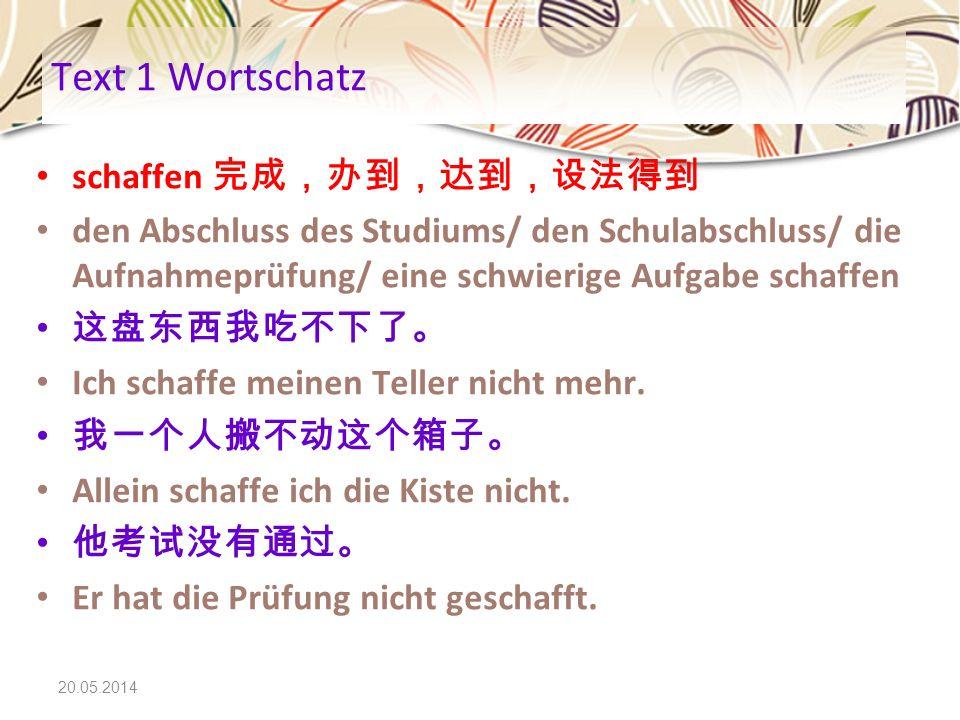 Text 1 Wortschatz schaffen 完成,办到,达到,设法得到