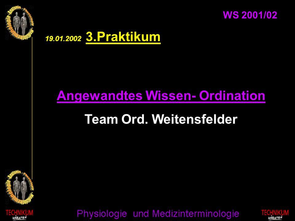 Angewandtes Wissen- Ordination Team Ord. Weitensfelder