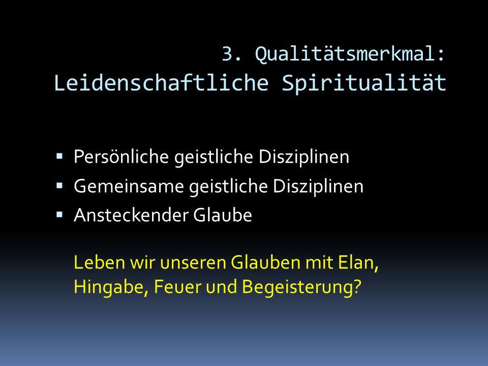 3. Qualitätsmerkmal: Leidenschaftliche Spiritualität