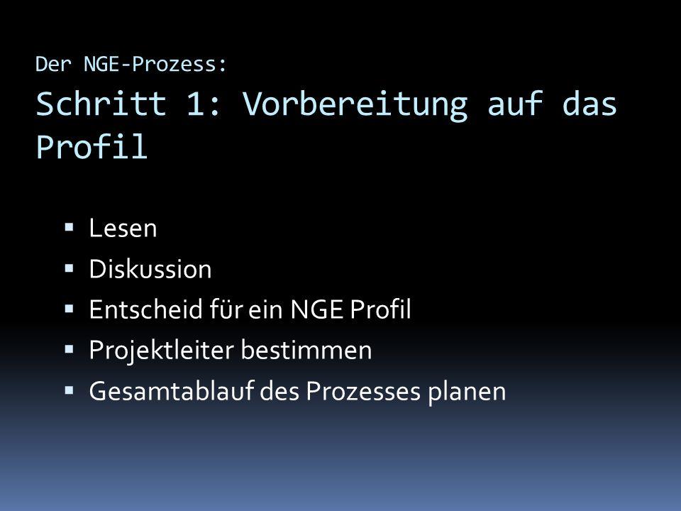 Der NGE-Prozess: Schritt 1: Vorbereitung auf das Profil