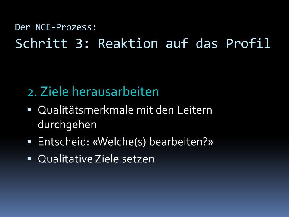 Der NGE-Prozess: Schritt 3: Reaktion auf das Profil