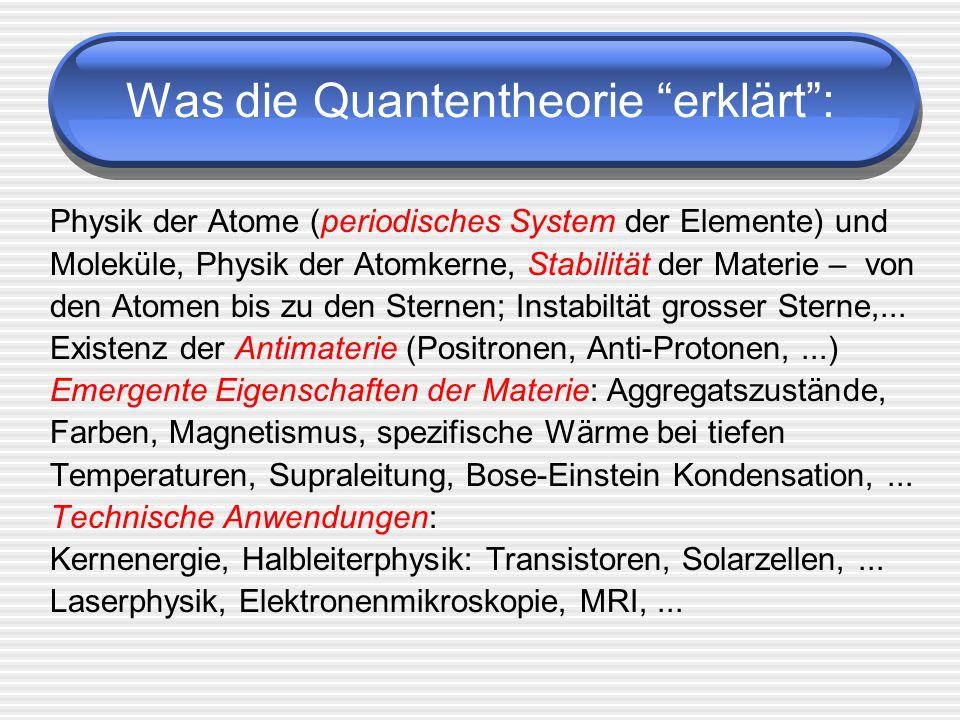 Was die Quantentheorie erklärt :