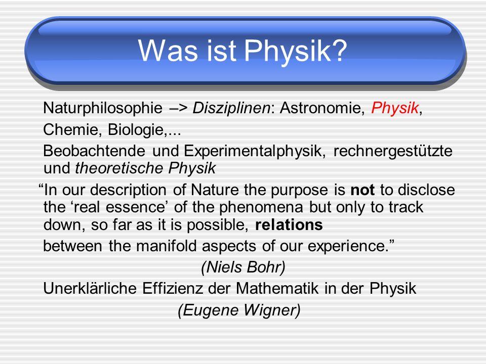 Was ist Physik Naturphilosophie –> Disziplinen: Astronomie, Physik, Chemie, Biologie,...