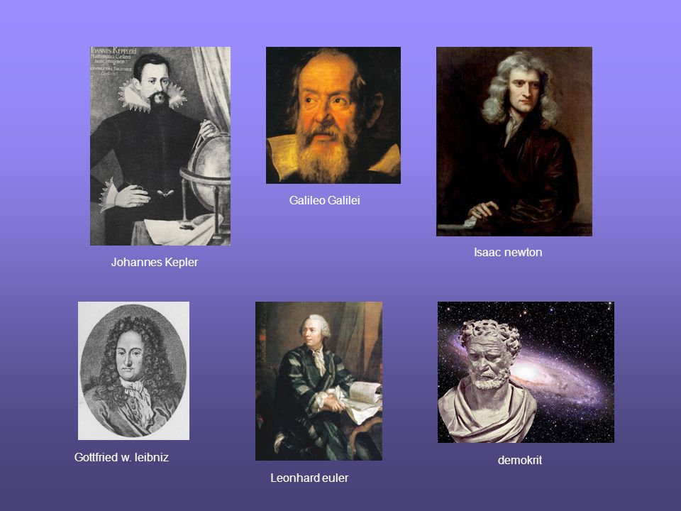 Johannes Kepler Galileo Galilei Isaac newton Gottfried w. leibniz Leonhard euler demokrit