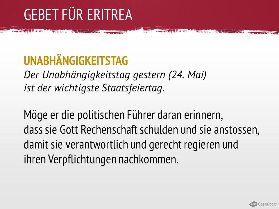 GEBET FÜR ERITREA UNABHÄNGIGKEITSTAG