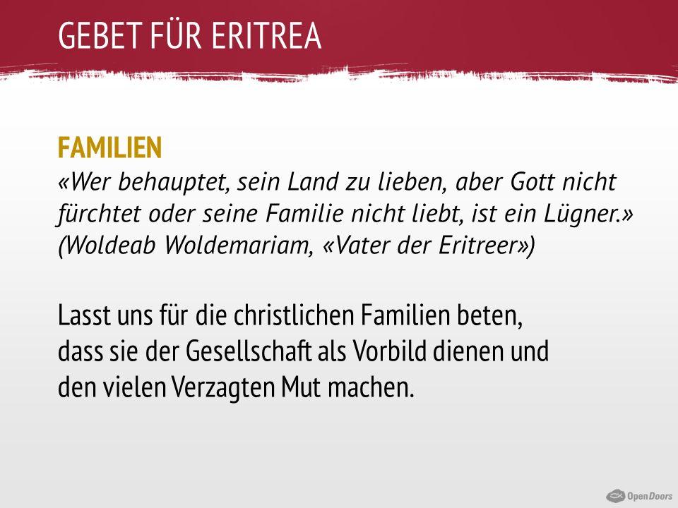 GEBET FÜR ERITREA FAMILIEN