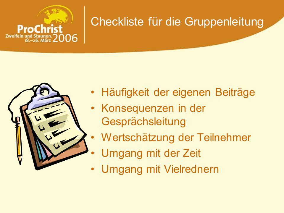 Checkliste für die Gruppenleitung