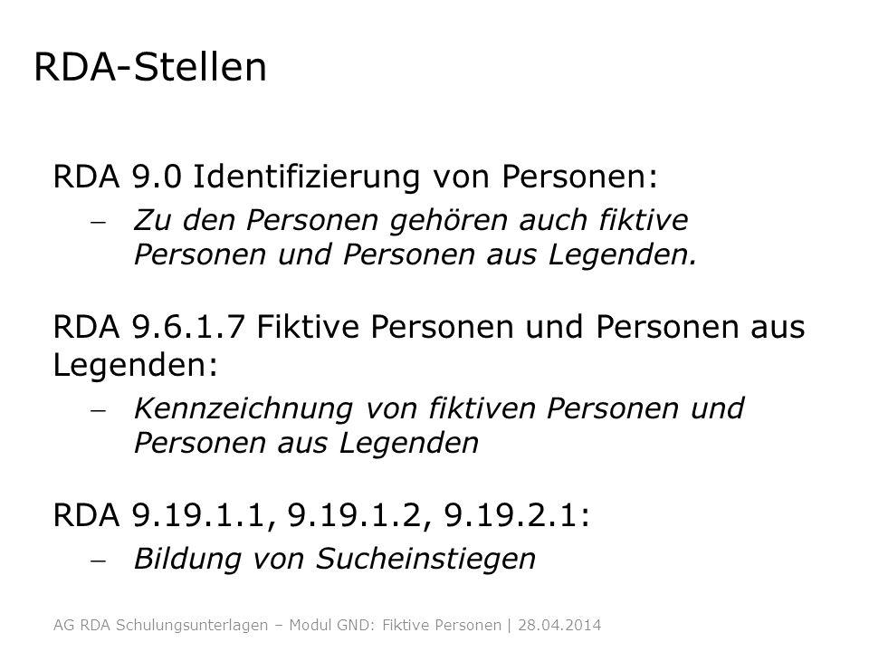 RDA-Stellen RDA 9.0 Identifizierung von Personen: