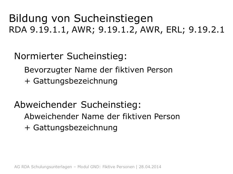Bildung von Sucheinstiegen RDA 9. 19. 1. 1, AWR; 9. 19. 1