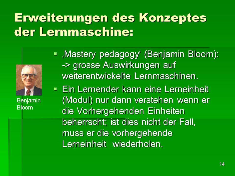 Erweiterungen des Konzeptes der Lernmaschine:
