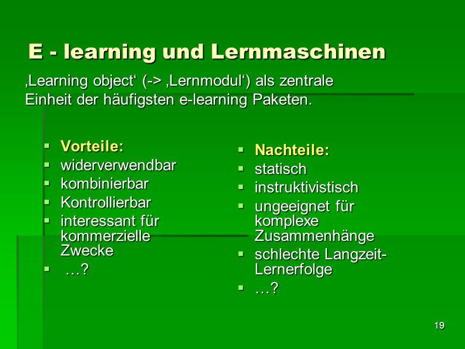 E - learning und Lernmaschinen
