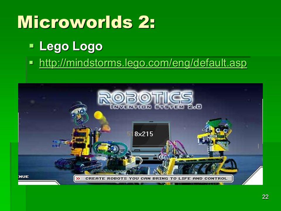 Microworlds 2: Lego Logo http://mindstorms.lego.com/eng/default.asp