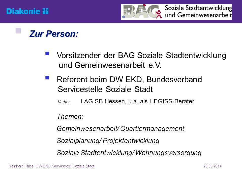 Zur Person: Vorsitzender der BAG Soziale Stadtentwicklung und Gemeinwesenarbeit e.V.