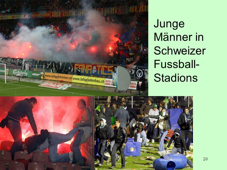 Junge Männer in Schweizer Fussball- Stadions