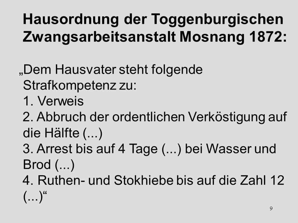Hausordnung der Toggenburgischen Zwangsarbeitsanstalt Mosnang 1872: