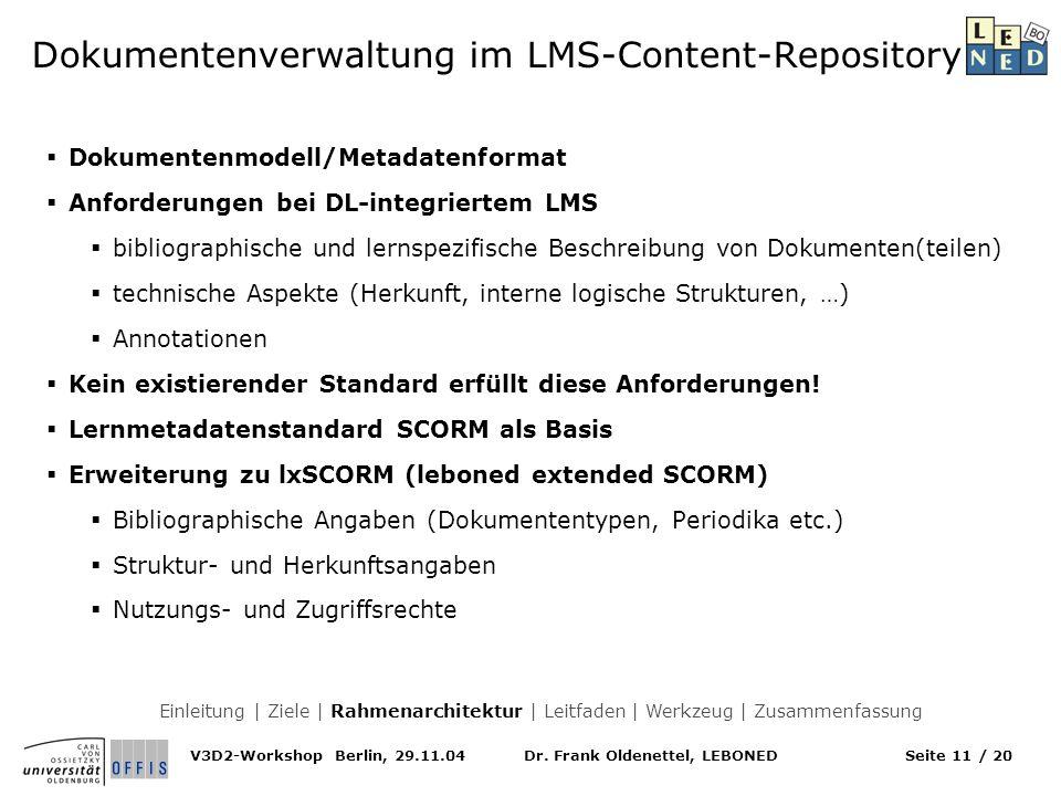 Dokumentenverwaltung im LMS-Content-Repository