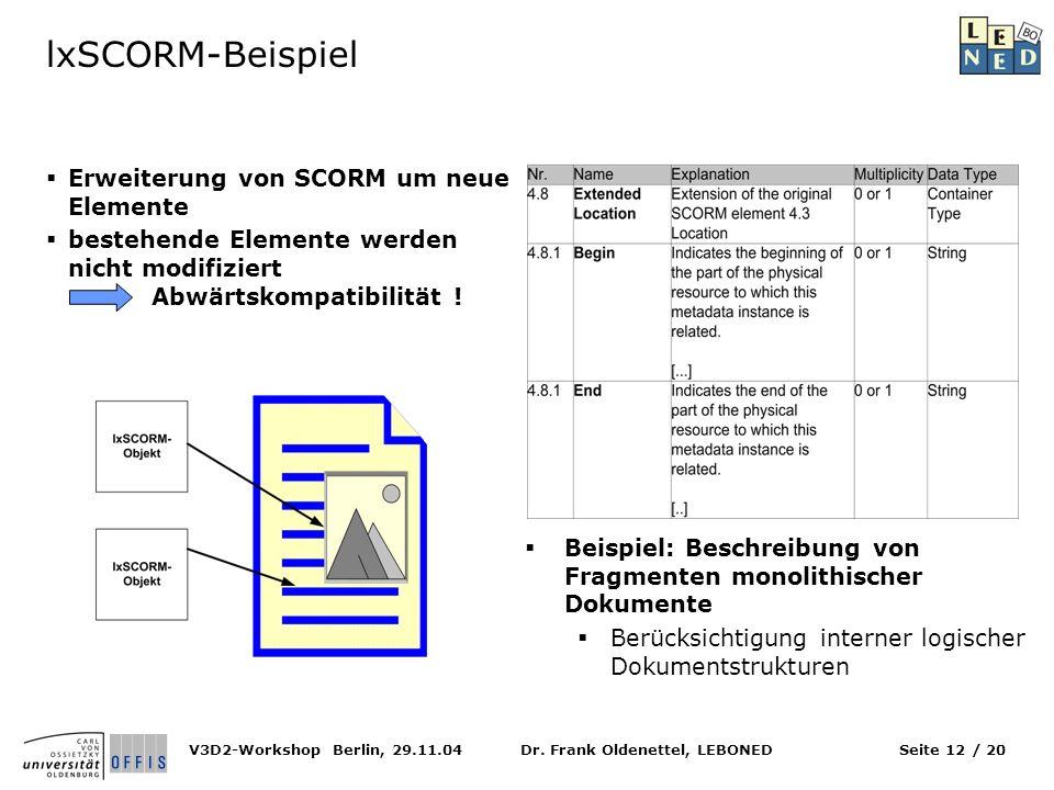 lxSCORM-Beispiel Erweiterung von SCORM um neue Elemente