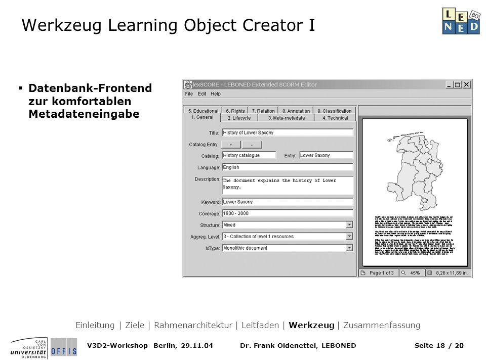 Werkzeug Learning Object Creator I
