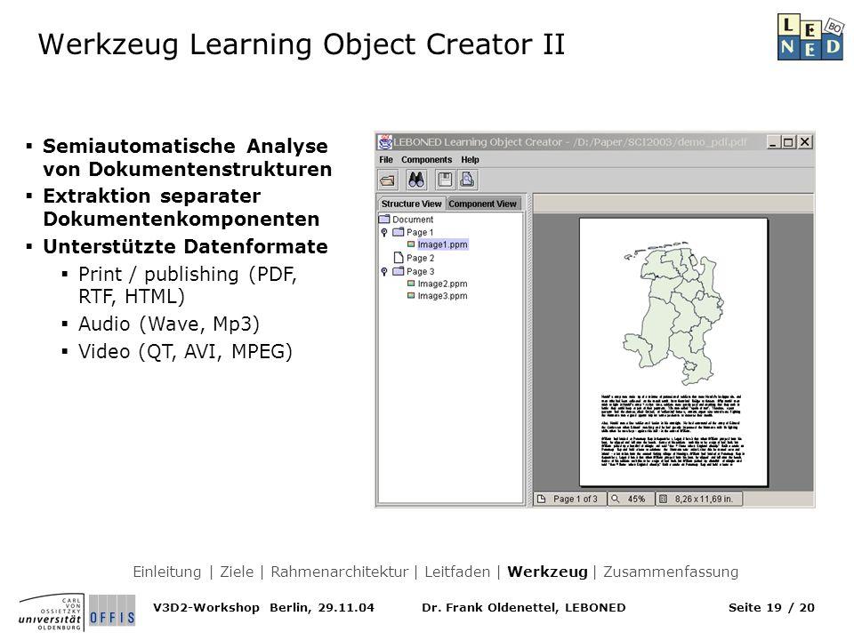 Werkzeug Learning Object Creator II