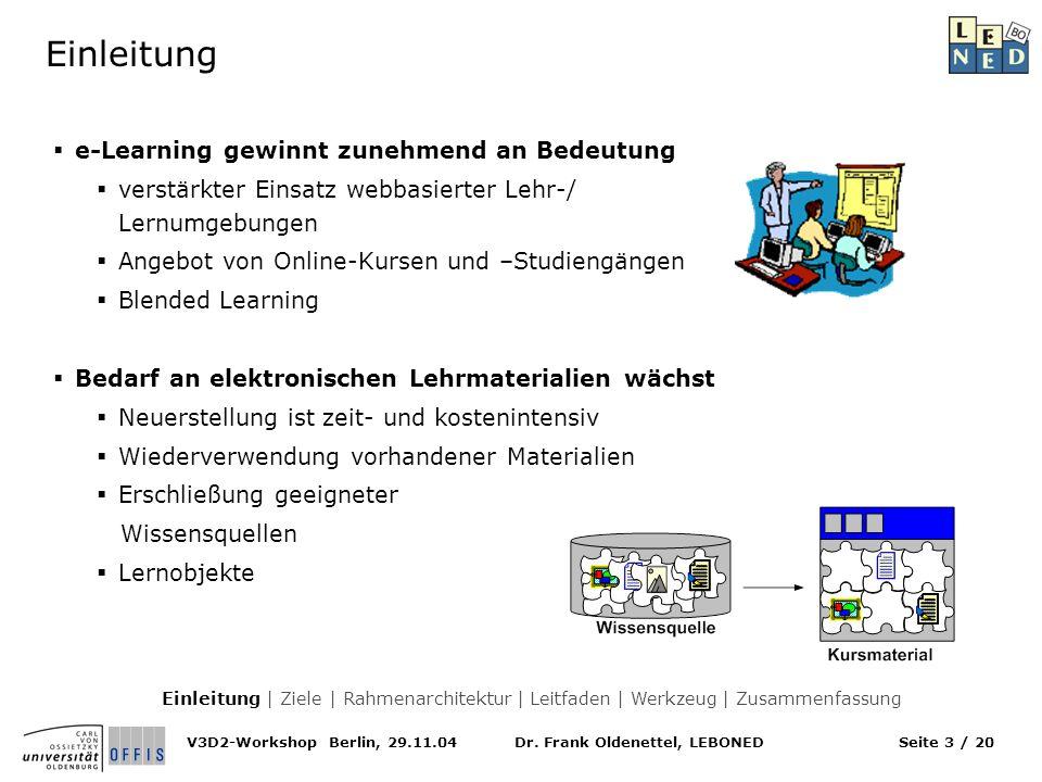 Einleitung e-Learning gewinnt zunehmend an Bedeutung