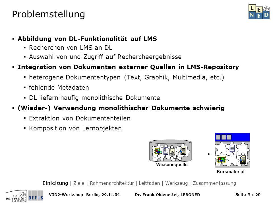 Problemstellung Abbildung von DL-Funktionalität auf LMS
