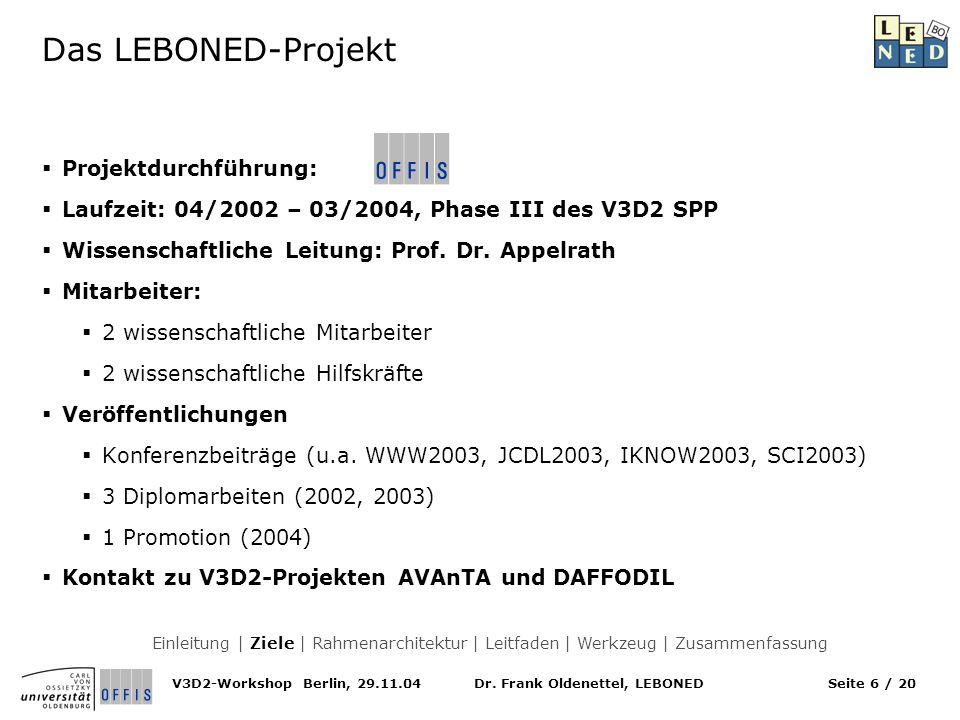 Das LEBONED-Projekt Projektdurchführung: