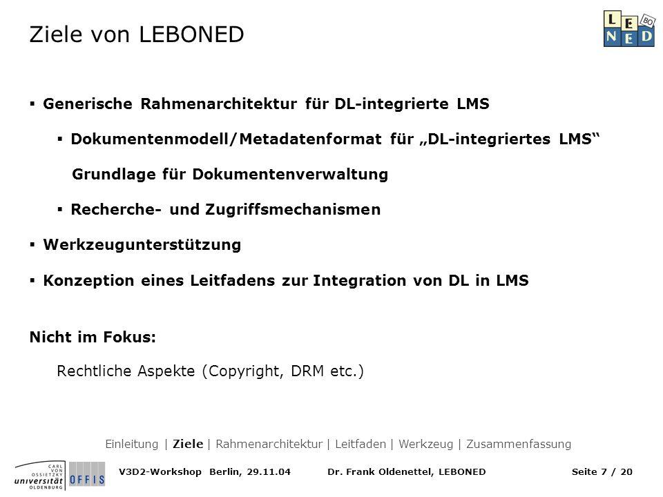 Ziele von LEBONED Generische Rahmenarchitektur für DL-integrierte LMS