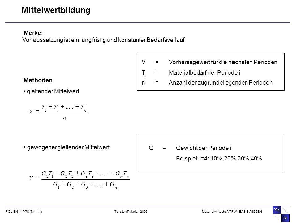 Mittelwertbildung Methoden n T V + = ..... G T V + = ..... Merke: