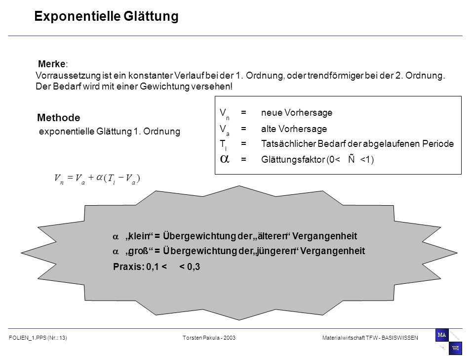 a Exponentielle Glättung Methode ) ( V T - + = Merke: