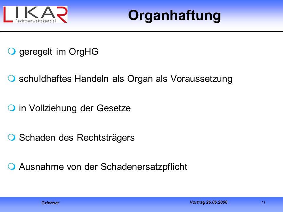 Organhaftung geregelt im OrgHG