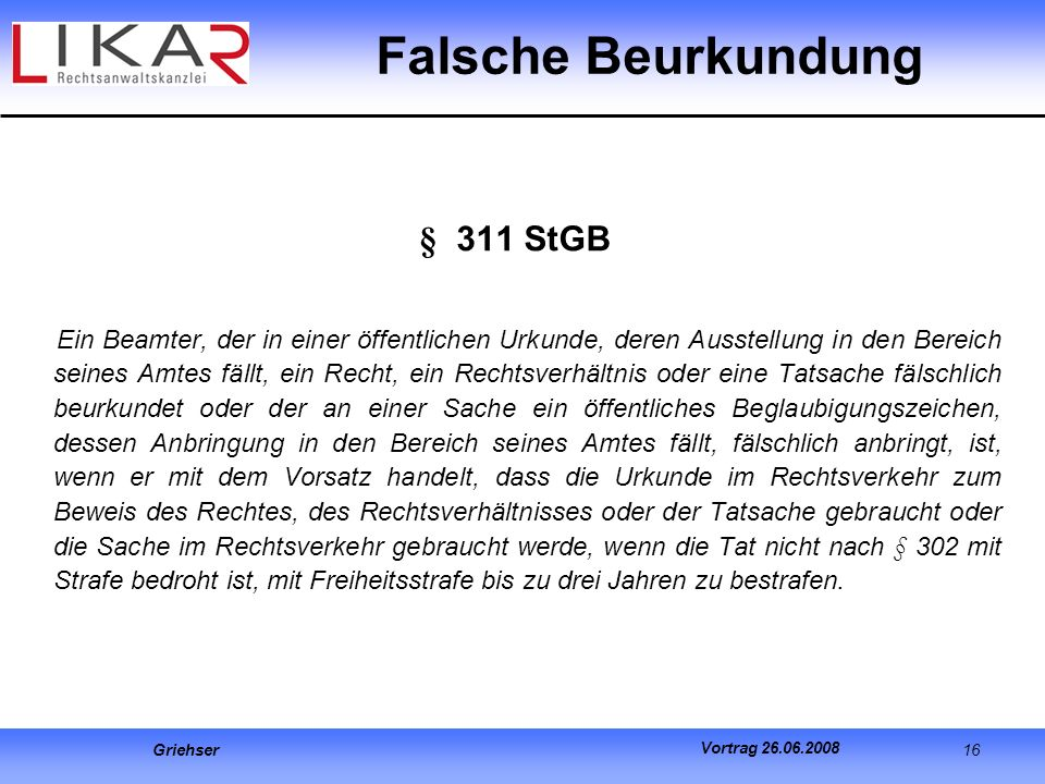 Falsche Beurkundung § 311 StGB
