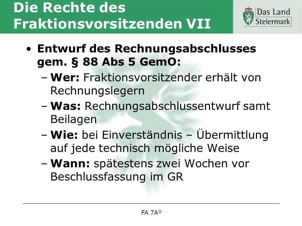 Die Rechte des Fraktionsvorsitzenden VII