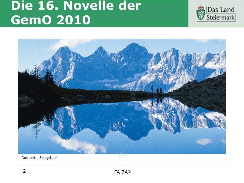 """Die 16. Novelle der GemO 2010 Dachstein, """"Spiegelsee"""