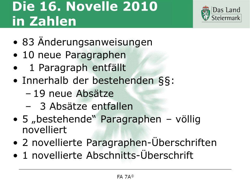 Die 16. Novelle 2010 in Zahlen 83 Änderungsanweisungen