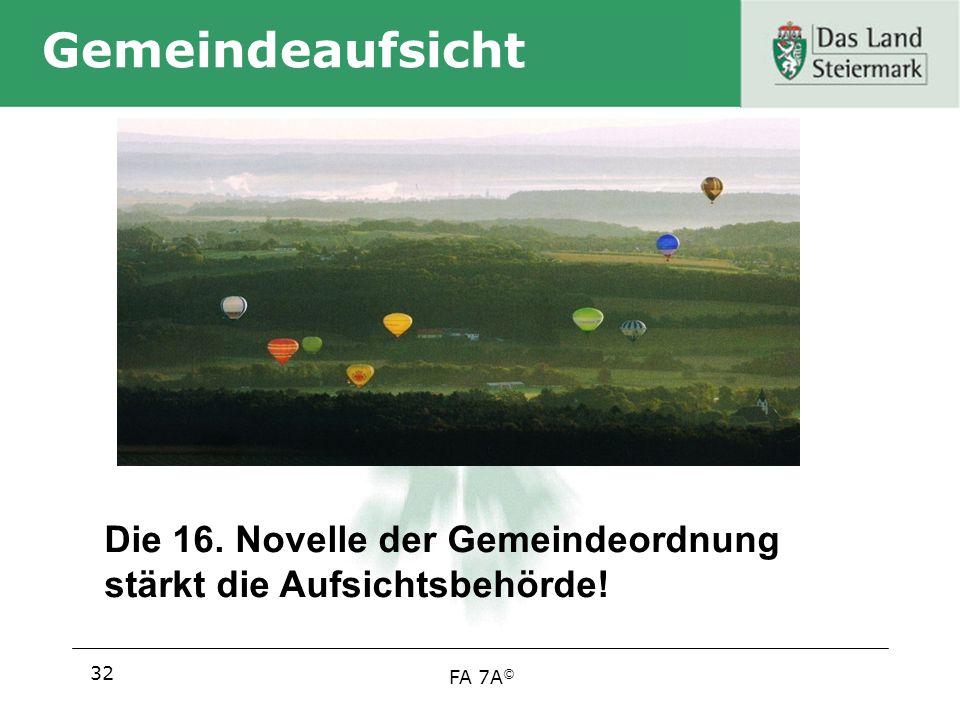 Gemeindeaufsicht Die 16. Novelle der Gemeindeordnung stärkt die Aufsichtsbehörde! 32