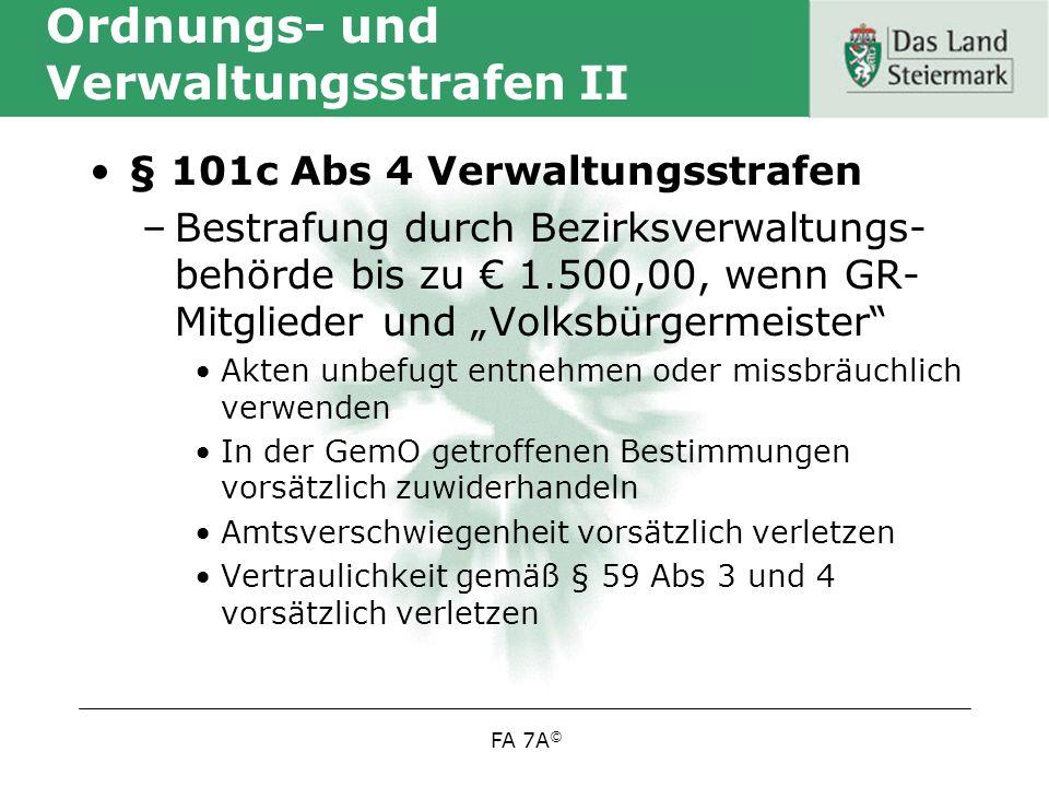 Ordnungs- und Verwaltungsstrafen II
