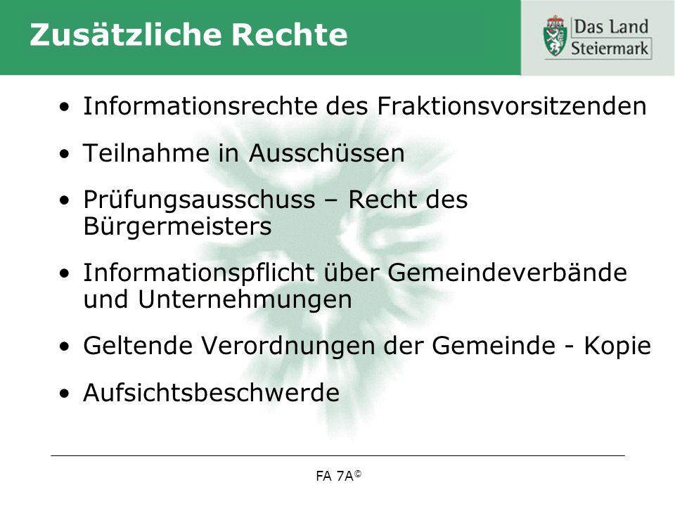 Zusätzliche Rechte Informationsrechte des Fraktionsvorsitzenden