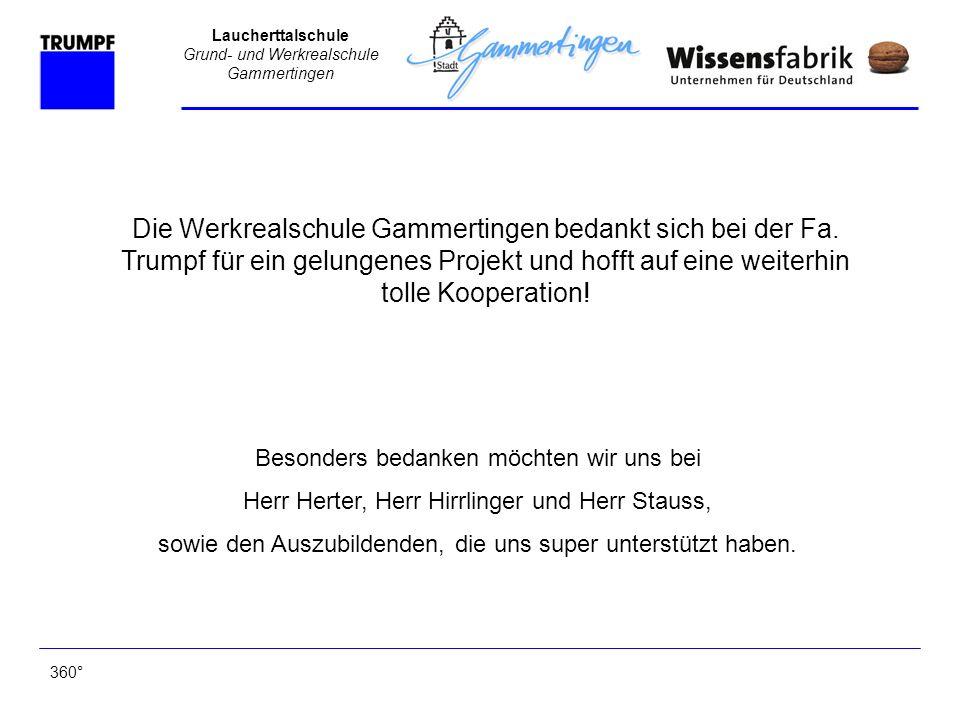 Die Werkrealschule Gammertingen bedankt sich bei der Fa