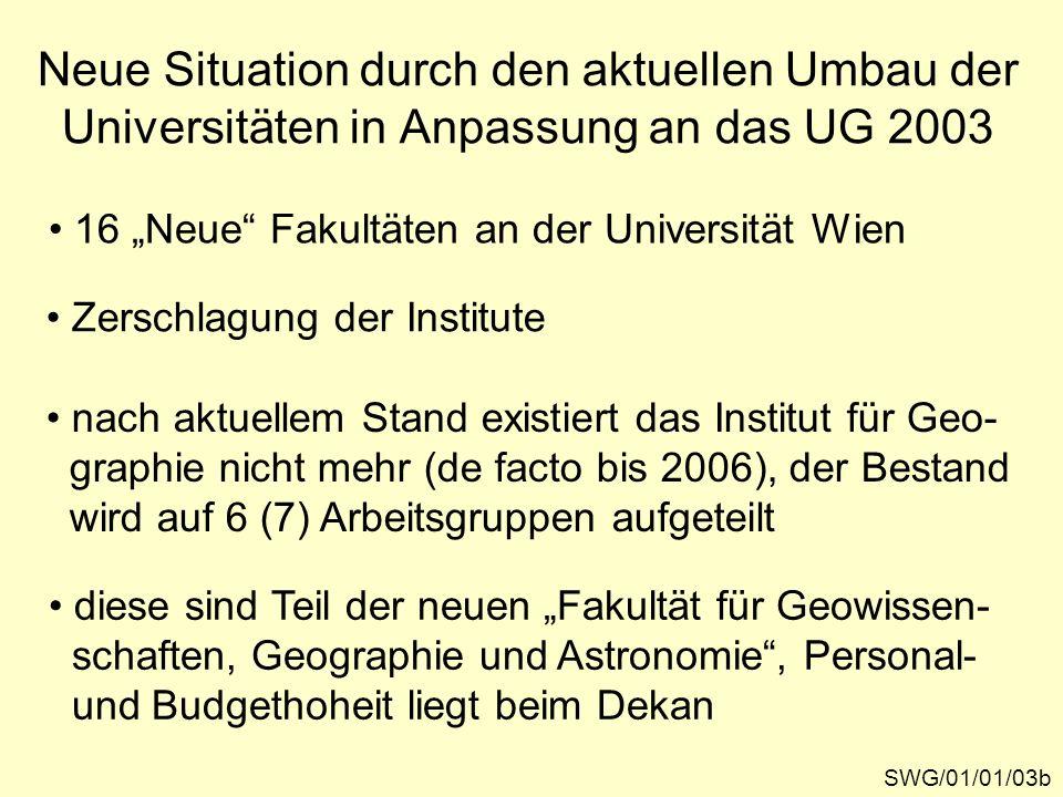 Neue Situation durch den aktuellen Umbau der Universitäten in Anpassung an das UG 2003