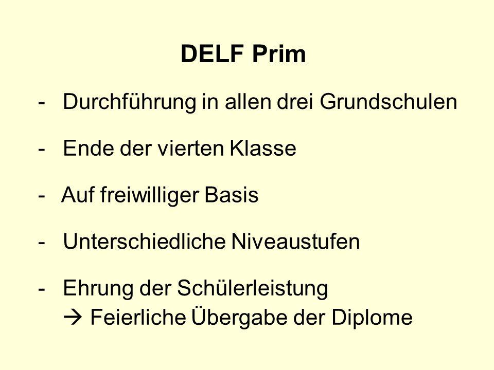 DELF Prim Durchführung in allen drei Grundschulen