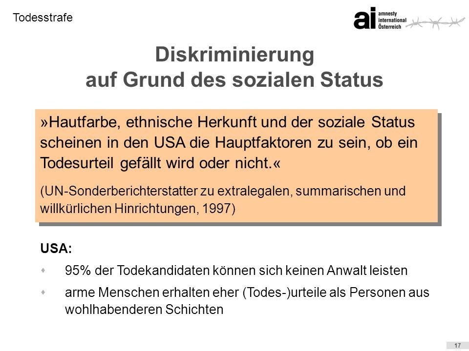 Diskriminierung auf Grund des sozialen Status