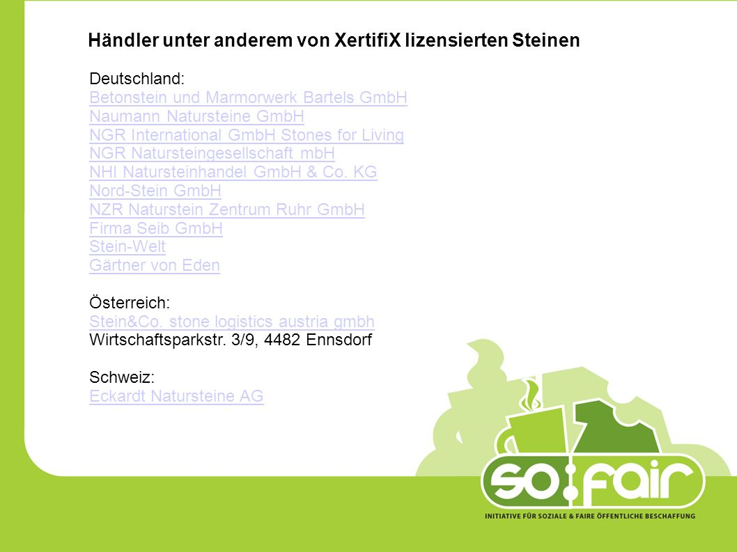 Händler unter anderem von XertifiX lizensierten Steinen