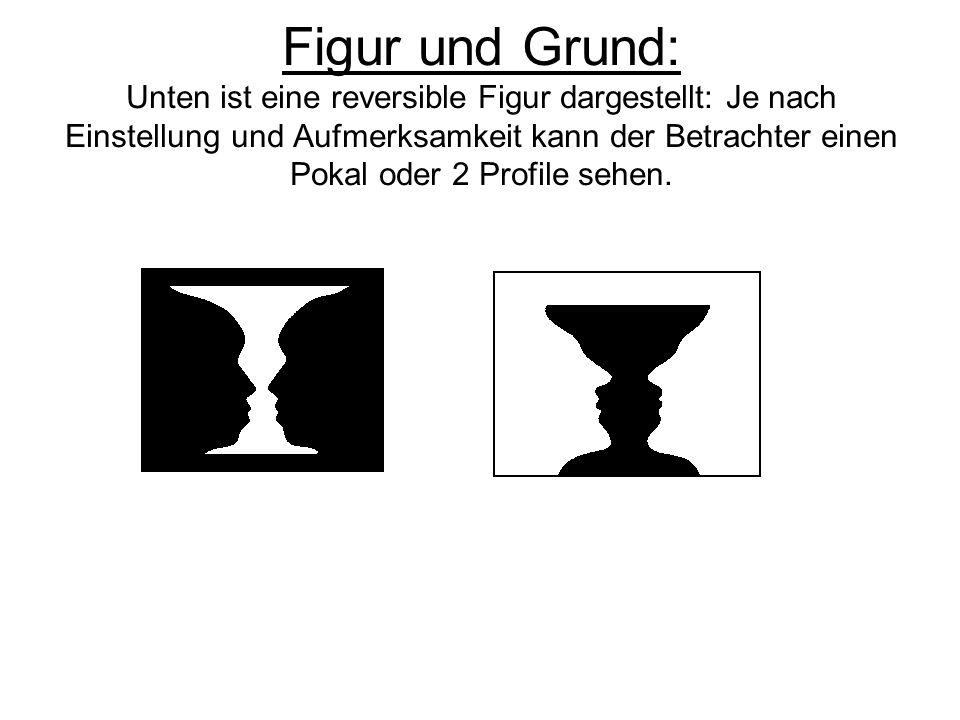 Figur und Grund: Unten ist eine reversible Figur dargestellt: Je nach Einstellung und Aufmerksamkeit kann der Betrachter einen Pokal oder 2 Profile sehen.