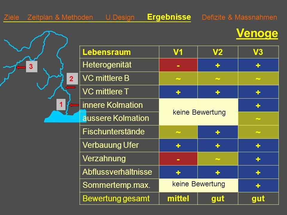 Venoge - + ~ Lebensraum V1 V2 V3 Heterogenität VC mittlere B