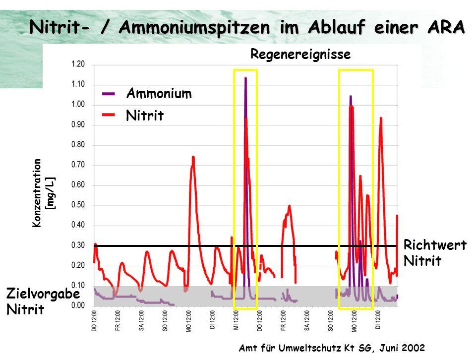 Nitrit- / Ammoniumspitzen im Ablauf einer ARA