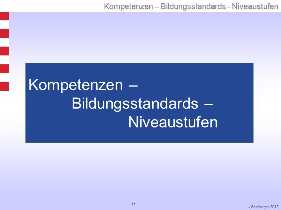 Kompetenzen – Bildungsstandards – Niveaustufen